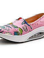 Women's Loafers & Slip-Ons Spring Fall Canvas Casual Platform Animal Print Black Blue Pink Others