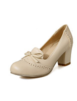 Women's Closed Round Toe Kitten-Heels Soft Material Solid Pull-on Pumps-Shoes