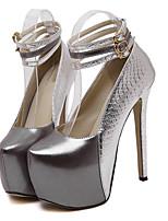 Красный / Серебристый-Женский-На каждый день-Дерматин-На шпильке-Удобная обувь-Обувь на каблуках