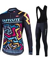 Fastcute® Maillot de Ciclismo con Mallas Bib Mujer / Hombres / Unisex Mangas largas BicicletaTranspirable / Mantiene abrigado / Secado