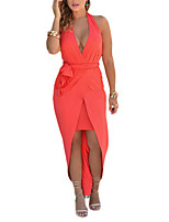 Women's Going out / Party/Cocktail / Club Simple Sheath DressSolid Halter Midi Sleeveless Red Polyester Summer