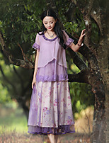 Our Story Women's Floral Purple SkirtsVintage Maxi