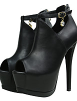Women's Heels Spring / Summer / Fall Bootie  Casual Stiletto Heel Crystal / Buckle Black Walking