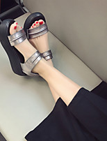 Women's Sandals Summer Platform Leather Dress / Casual Wedge Heel Magic Tape Black / Silver Others