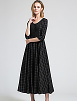 BORME Women's Round Neck 3/4 Length Sleeve Maxi Dress-Y045