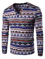 Men's Print Casual / Sport T-ShirtCotton Long Sleeve-Blue / Purple / Red