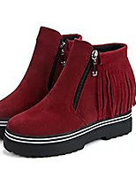 Women's Boots Fall / Winter Fashion Boots Leatherette Outdoor / Casual Flat Heel Tassel Walking / Snow Boots