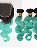 3 Pieces Body Wave Ombre Human Hair Weaves 300g and Brazilian Top Closure Human Hair Extensions 12 inch to 24 inch Teal