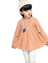 Girl's Casual/Daily Solid DressCotton Fall Green / Orange