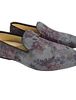 גברים-נעליים ללא שרוכים-עור-נוחות-כחול / צהוב / אפור-קז'ואל-עקב שטוח