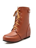 Women's Boots Fall / Winter Snow Boots PU Outdoor / Dress / Casual Flat Heel Black / Brown / Yellow /