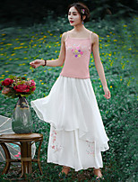 Our Story Women's Embroidered White Wide Leg PantsChinoiserie Spring / Fall