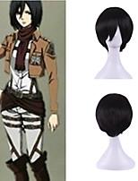 animado janpanese de los hombres sedosos cosplay peluca del traje de Halloween personalidad naturales brillantes negro corto