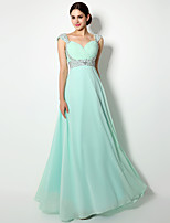 Floor-length Chiffon Bridesmaid Dress - Lace-up / Mini Me Sheath / Column Straps with Crystal Detailing / Side Draping / Sequins