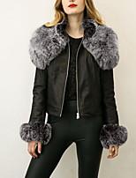 Women's Plus Size Simple Fur CoatSolid Notch Lapel Long Sleeve Winter Black Faux Fur Medium