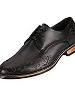 Men's Oxfords Spring / Fall Comfort / Pointed Toe PU Casual Flat Heel Lace-up Black / Brown / Red Walking