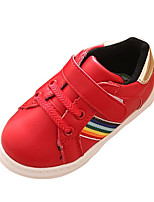 Unisex Sneakers Spring / Fall Comfort PU Casual Flat Heel Magic Tape Red / White Sneaker