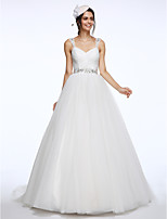 Lanting Bride® Ball Gown Wedding Dress Chapel Train Straps Tulle with Beading / Criss-Cross / Sash / Ribbon