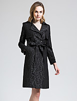 BORME Women's Shirt Collar Long Sleeve Trench Coat Black-Z830