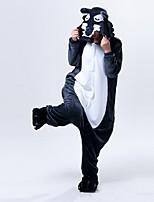 Kigurumi Pajamas Wolf Leotard Onesie Halloween Animal Sleepwear Gray Polar Fleece Kigurumi Unisex Halloween Character