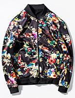 Мужской Полиэстер Куртка На каждый день / Для занятий спортом,С принтом,Длинный рукав,Черный / Белый