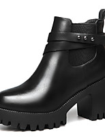 Women's Boots Spring/Fall/Winter Fashion Boots / Combat Boots Synthetic Office & Career / Casual Chunky Heel Black