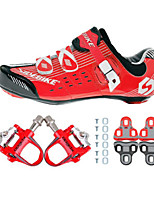 03 Cycling Shoes Unisex Outdoor / Road Bike Sneakers Damping / Cushioning Red / Black-sidebike And Red Rock Pedals