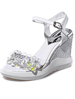 Women's Sandals Summer Platform PU Casual Wedge Heel Crystal White / Silver Others
