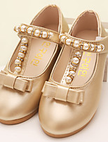 Girl's Loafers & Slip-Ons Spring Fall PU Dress Casual Low Heel Bowknot Pink Silver Gold Other