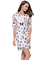 Women's Casual/Daily Vintage Plus Size / Sheath Dress,Print Round Neck Above Knee ½ Length Sleeve White Polyester /