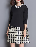 Women's Plus Size Street chic Loose DressPolka Dot / Color Block Round Neck Above Knee  Sleeve Black