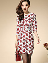 Boutique S Women's Plus Size / Casual/Daily Vintage Shift DressFloral Round Neck Above Knee  Sleeve Fall High Rise