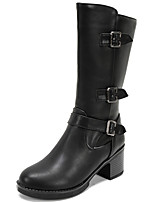 Women's Shoes Chunky Heel Round Toe Platform Buckle Mid Calf Boot More Color Available