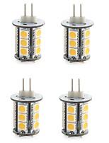 4W G4 Двухштырьковые LED лампы T 18 SMD 5050 300-400 lm Тёплый белый / Холодный белый Декоративная DC 12 V 4 шт.