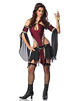 Costumes de Cosplay / Costume de Soirée Vampire Fête / Célébration Déguisement Halloween Rouge / Noir Mosaïque Robe / Plus d'accessoires