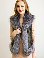 Women's Plus Size / Casual/Daily Simple Fur CoatPatchwork Shirt Collar Sleeveless Winter  Faux Fur / PU Thick