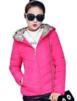 Women's Print Slim Hin Thin Padded Coat Simple / Street chic Hooded Long Sleeve