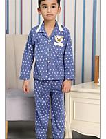 Boy's Casual/Daily Polka Dot Clothing SetCotton Summer Blue