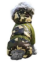 Katzen / Hunde Mäntel / Kapuzenshirts / Austattungen Rot / Orange / Grün / Blau / Braun / Rosa Hundekleidung Winter camuflajeModisch /