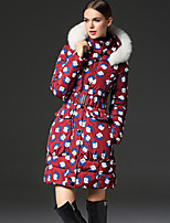 FRMZ  Women's Print Red Down CoatChinoiserie Hooded Long Sleeve