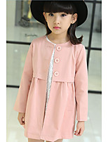Girl's Casual/Daily Solid Trench CoatCotton Spring / Fall Green / Pink / Beige