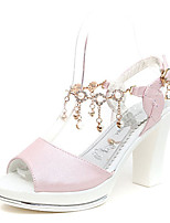 Women's Sandals Summer Platform PU Casual Chunky Heel Buckle Blue / Pink / White Others