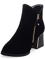 Women's Boots Winter Fashion Boots Dress Chunky Heel Zipper Black / Blue / Brown / Red Others