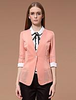 Damen Solide Einfach Arbeit Blazer,V-Ausschnitt Frühling / Herbst ¾-Arm Rosa / Schwarz / Gelb Polyester / Elasthan Dünn