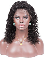 Remy Human Hair Natural Color Curly 10-26inches Light Brown Swiss Lace 130% density Full Lace Wig