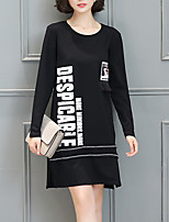 Women's Plus Size / Casual/Daily Vintage Sheath DressLetter Round Neck Above Knee Long Sleeve Black Polyester