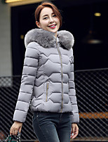 Women's ReFormal Solid-Polyester White Duck Down Long Sleeve Hooded Blue / Pink / White / Black / Gray