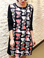 Women's Plus Size / Casual/Daily Vintage Sheath DressPrint Round Neck Above Knee Long Sleeve Black Polyester All Seasons