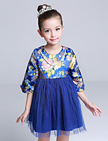 Girl's Casual/Daily Jacquard DressCotton / Polyester Winter / Fall Blue