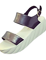 Women's Sandals Summer Sandals PU Casual Wedge Heel Buckle Black / White / Silver Others